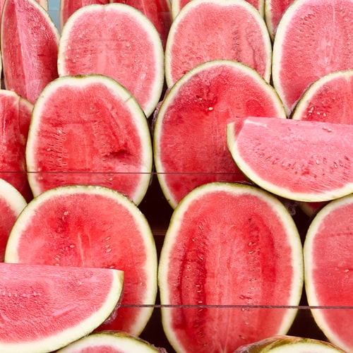 sliced watermelons.
