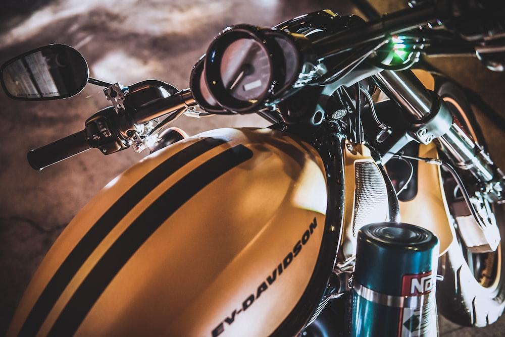 gold Harley-Davidson motorcycle