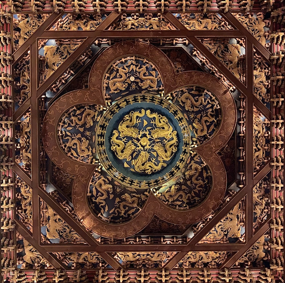 brown and yellow floral ceiling