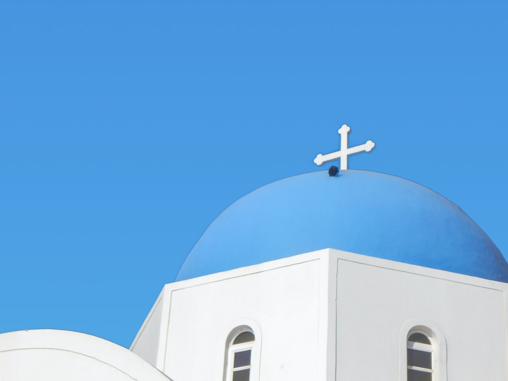 blue and white painted church building