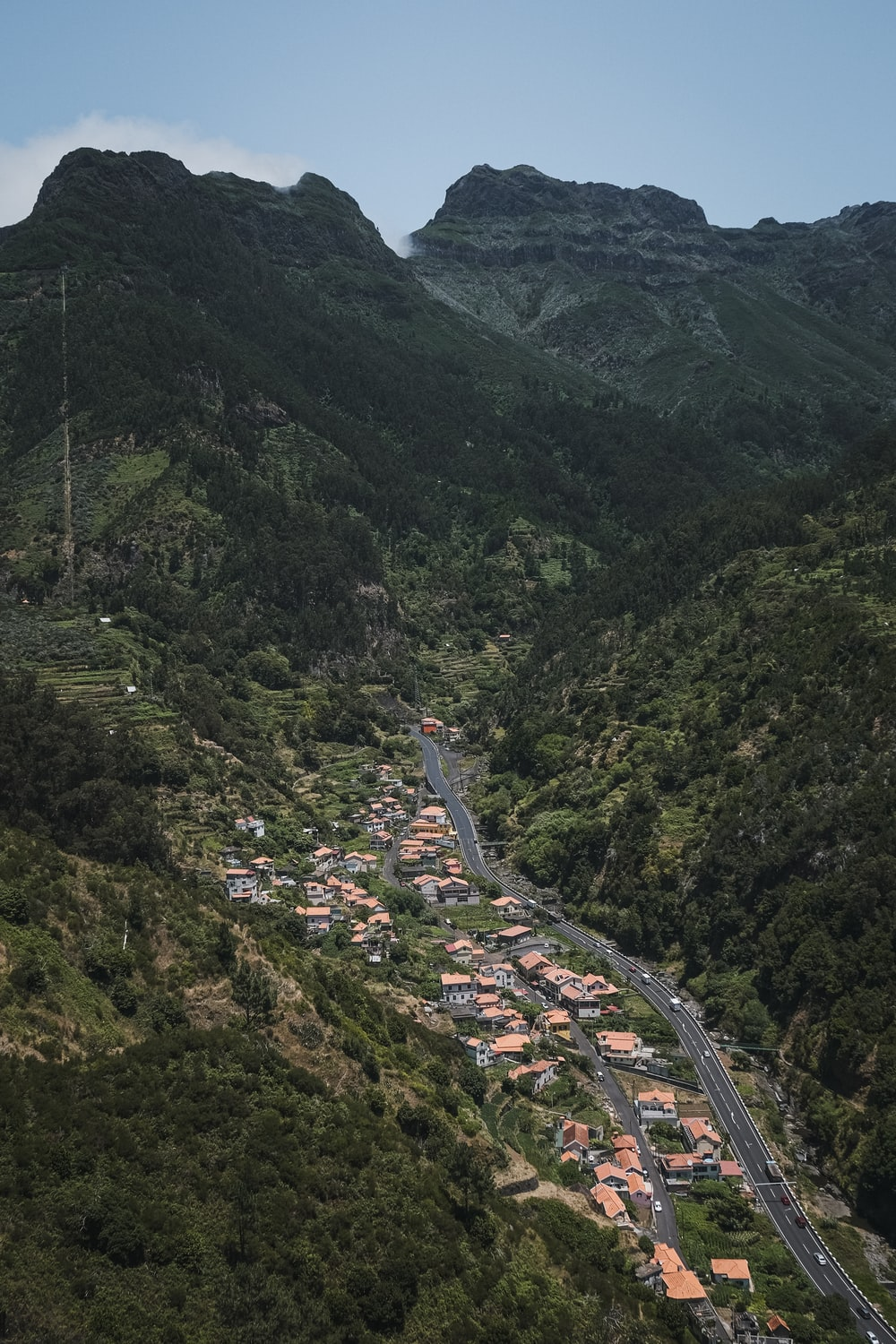 aerial view of buildings near mountain range