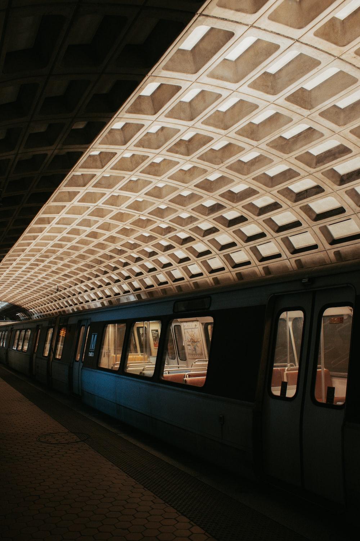 train in concrete building