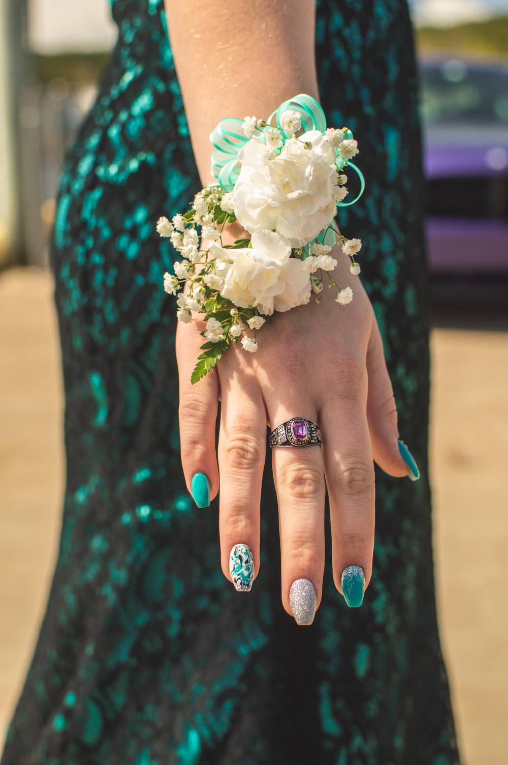 woman wearing corsage
