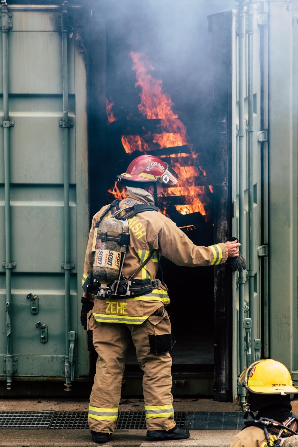 firefighter on intermodal container