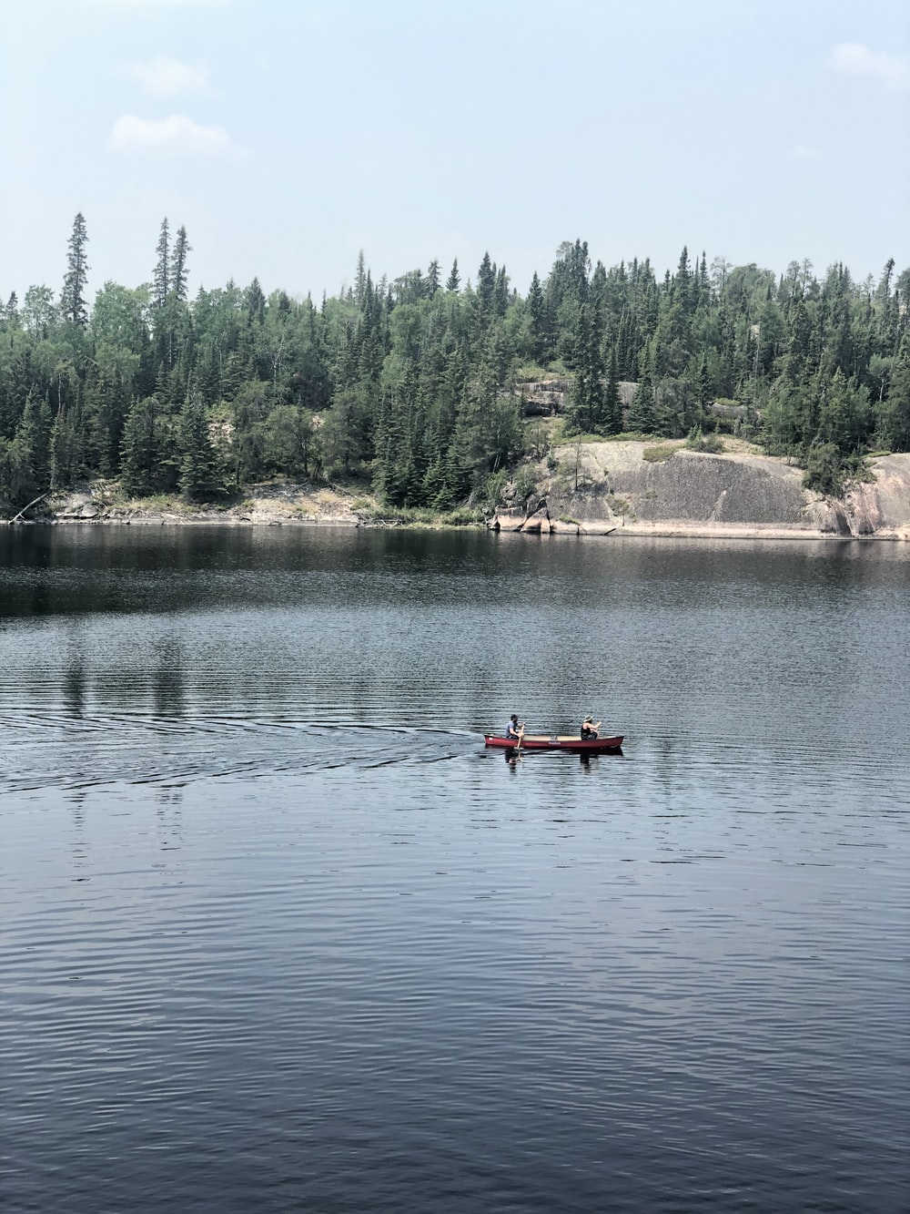 person riding on kayak near pine trees