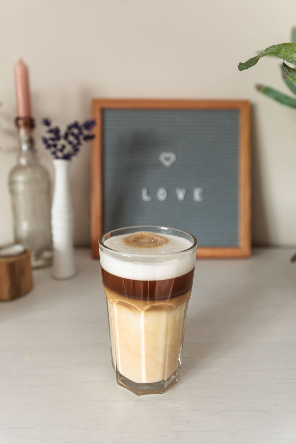 cafe latte in glass