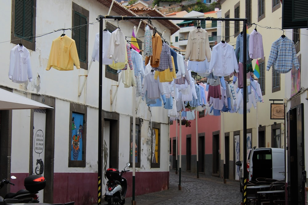clothes hanged in street