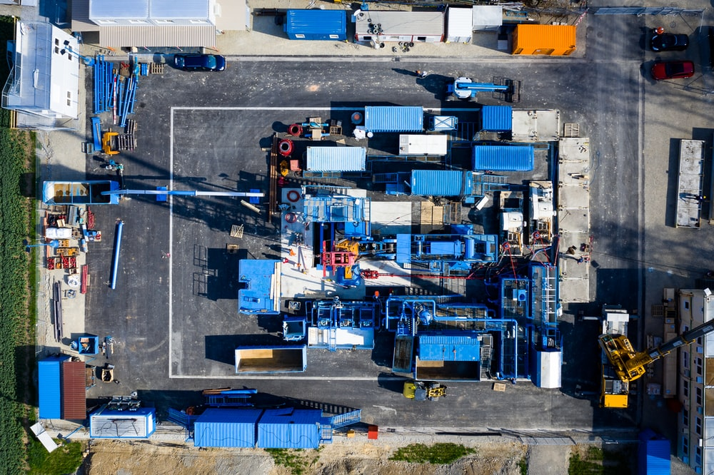 aerial view of industrial machines
