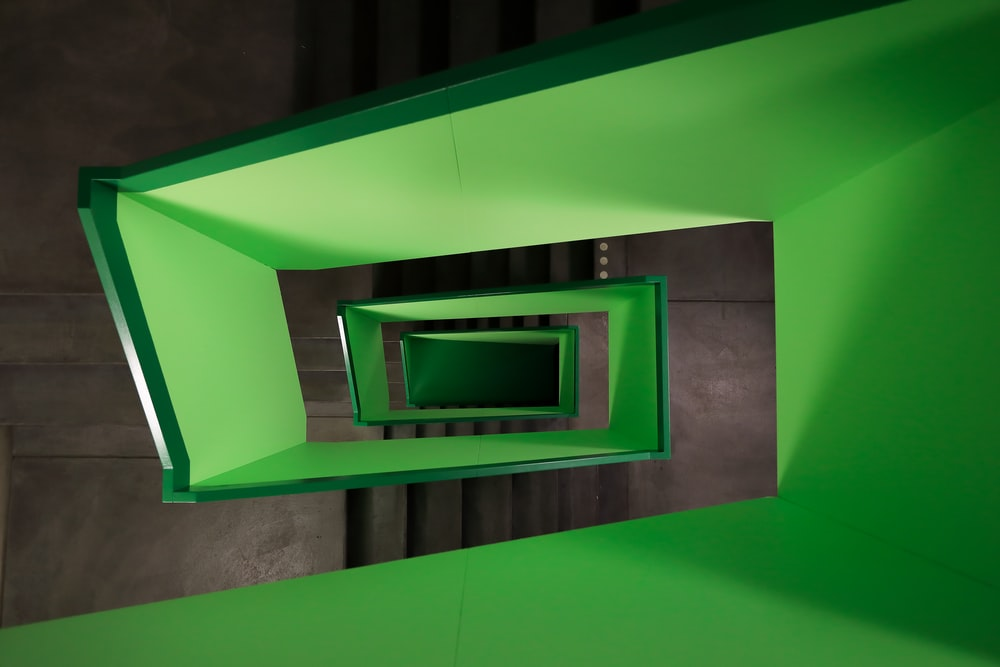 high-angle photography of green stairs
