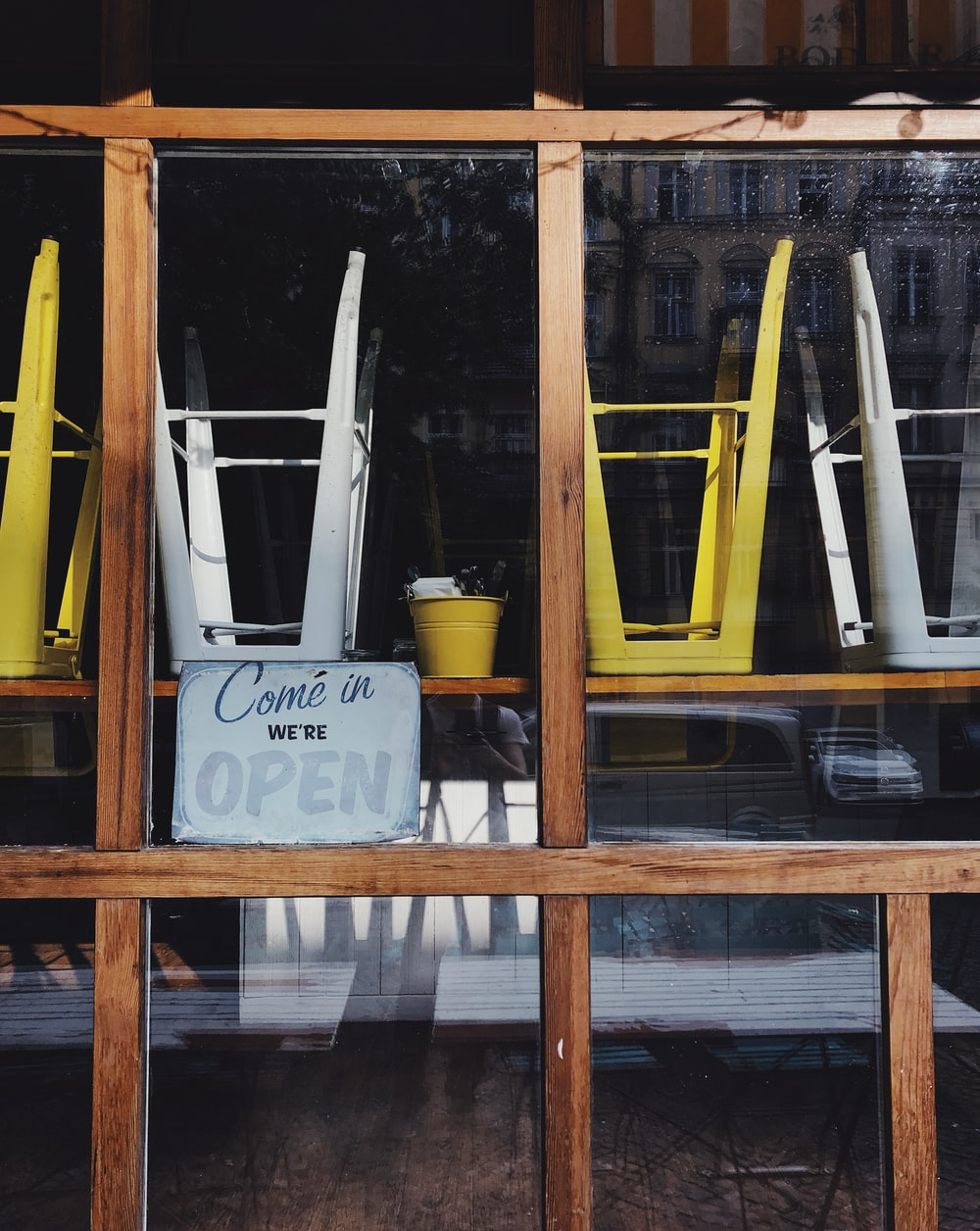 yellow and white metal chairs