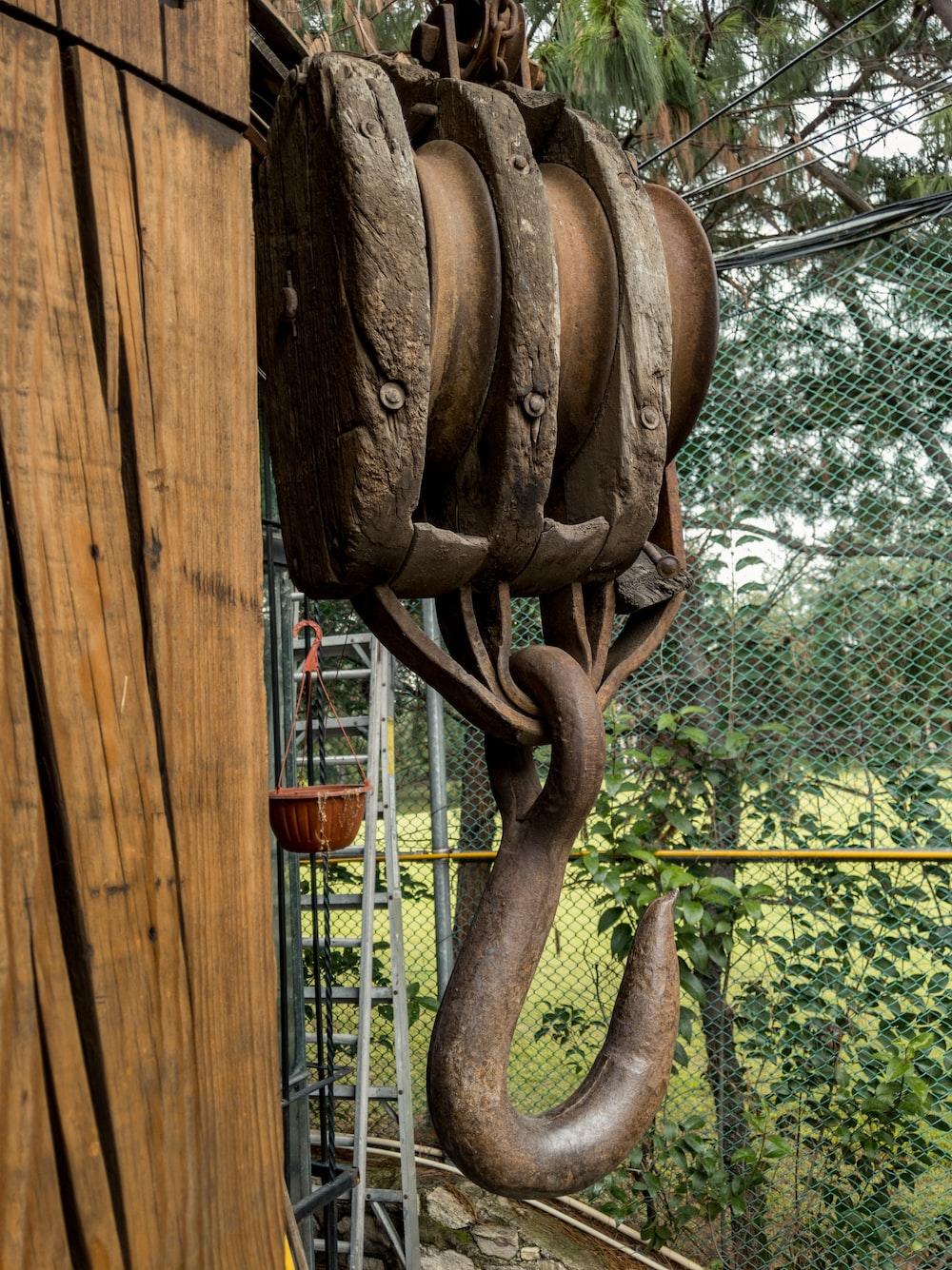 brown triple pulley