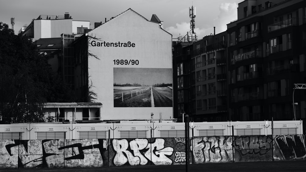 grayscale photography of Gartenstrabe 1989/90 house
