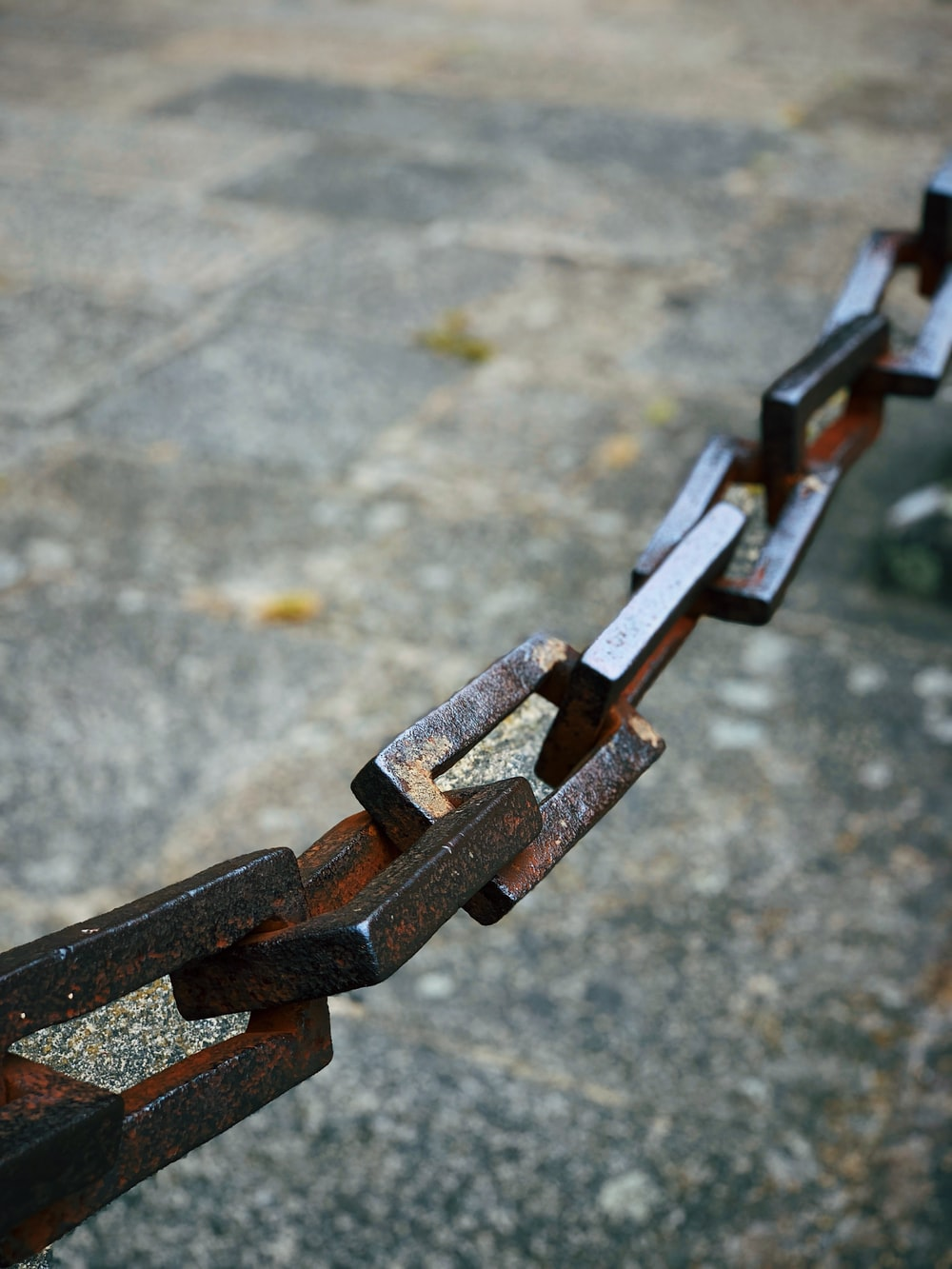 selective focus photography of brown metal chain