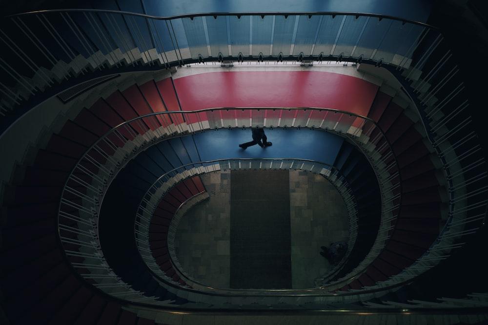 high-angle photography of staircase