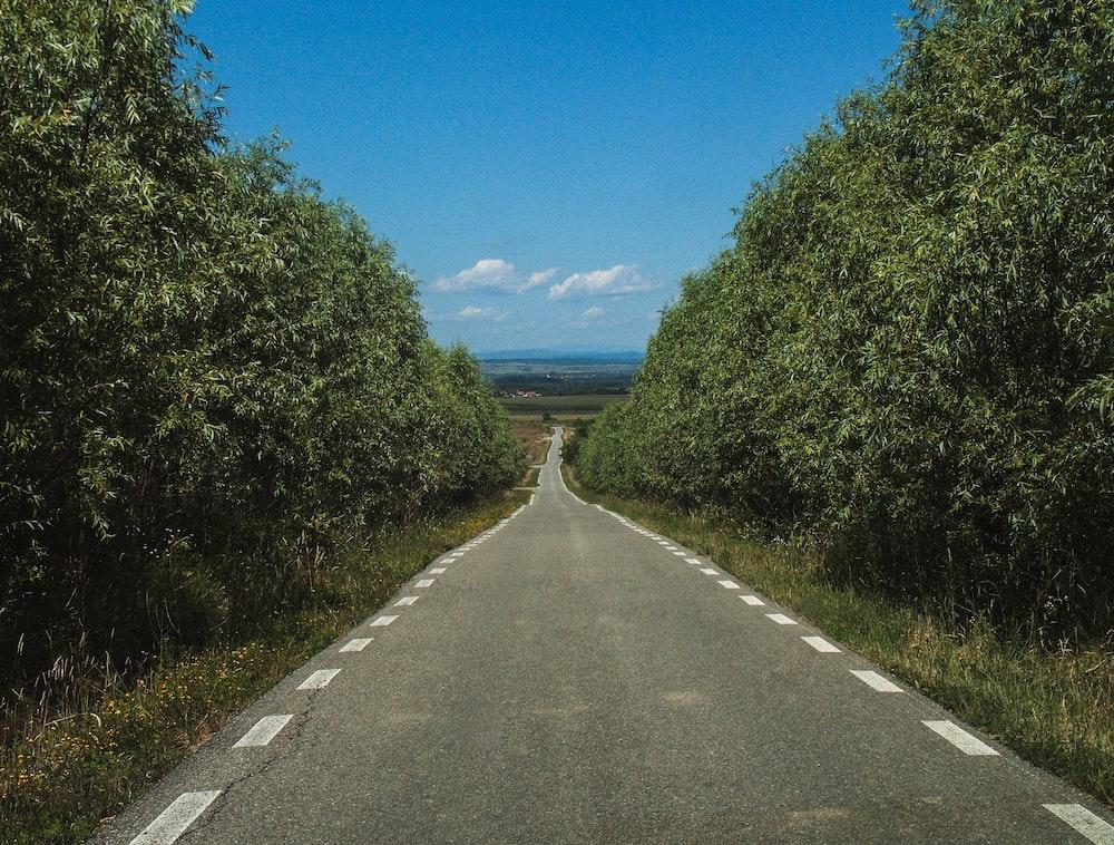 black paved road