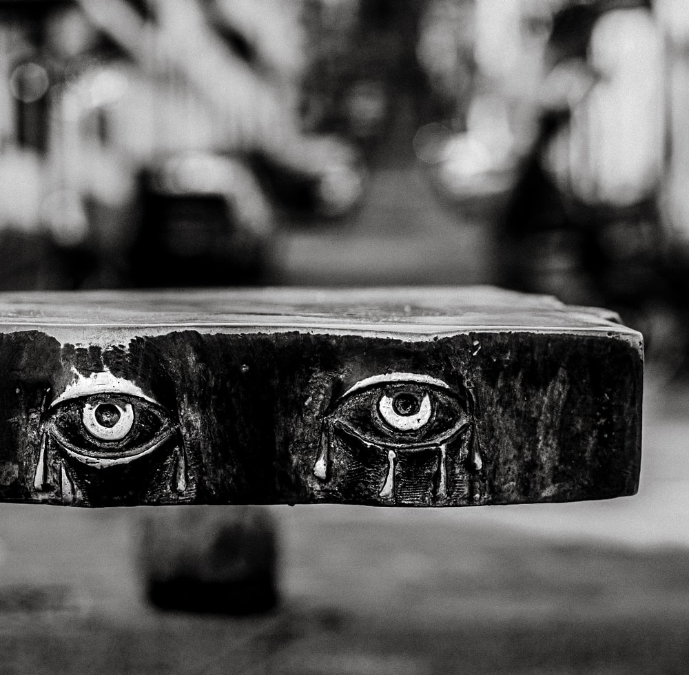 grayscale photo of humaneyes
