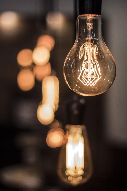 powered-on Edison light bulbs