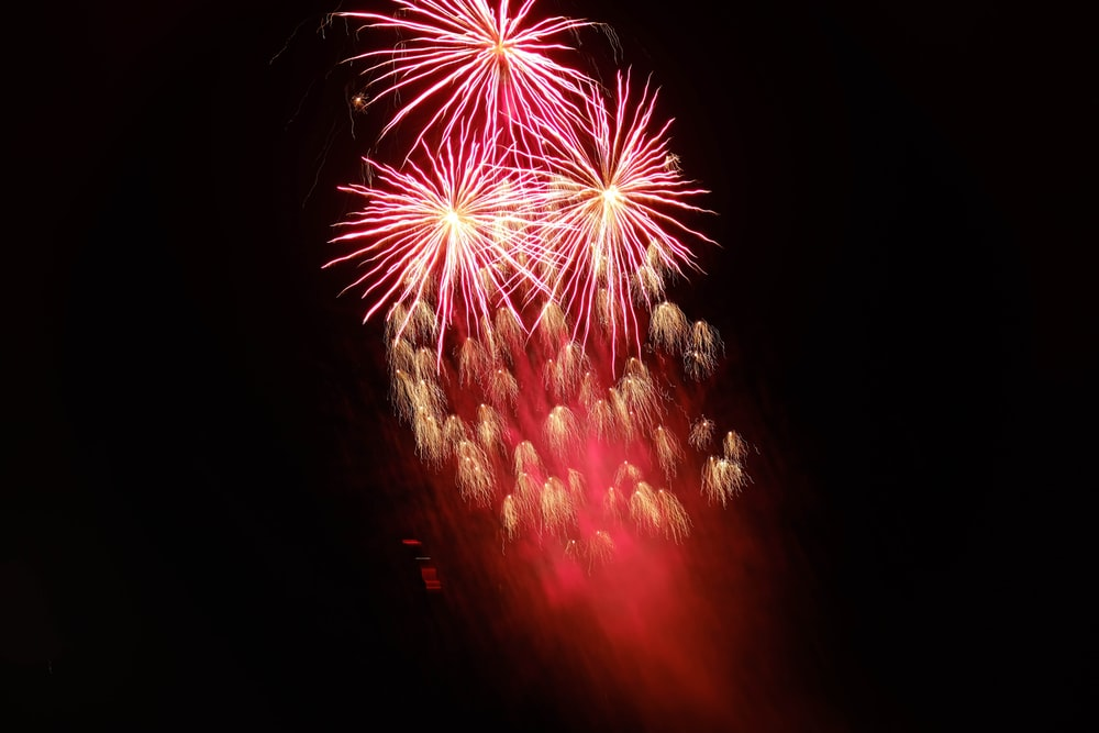 pink and brown fireworks on sky