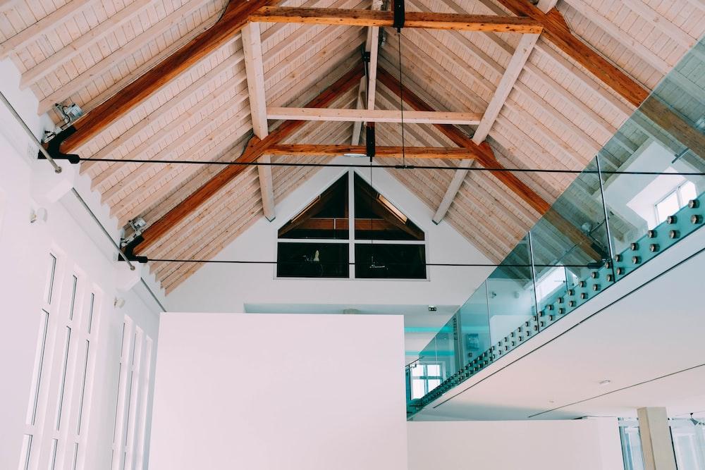 brown wooden roof frames