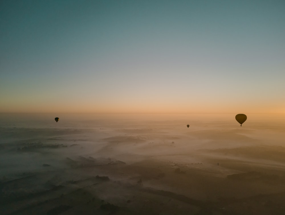 hot air balloons on mid air under clear blue sky