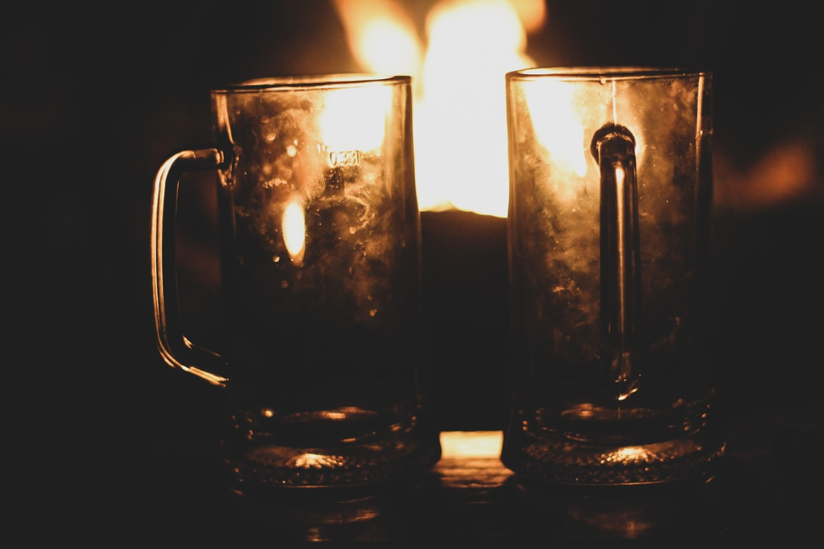 pints by the fire in the lake district winter time