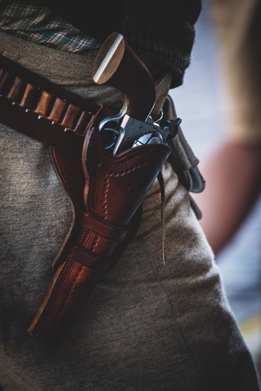 gray revolver gun