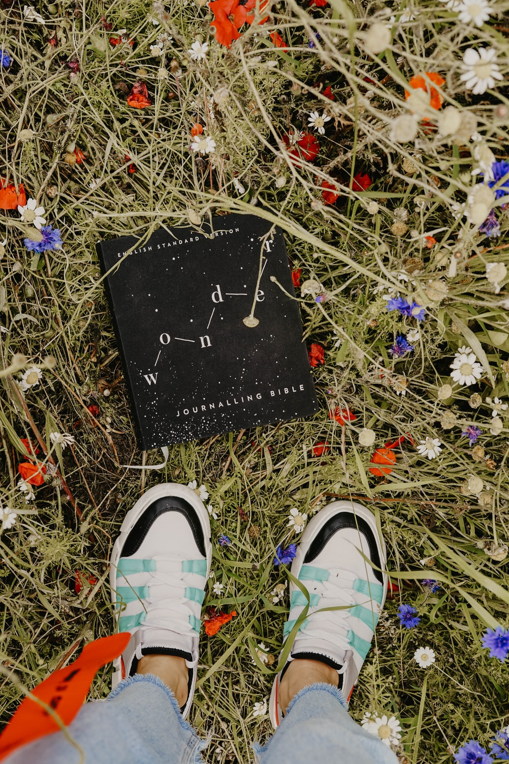 black and white hardbound book on field surrounded with assorted-color flowers