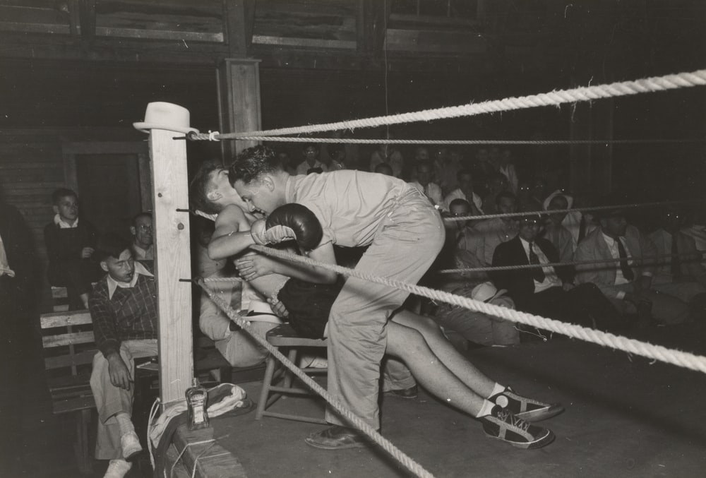 grayscale photo of boxer sits and facing man