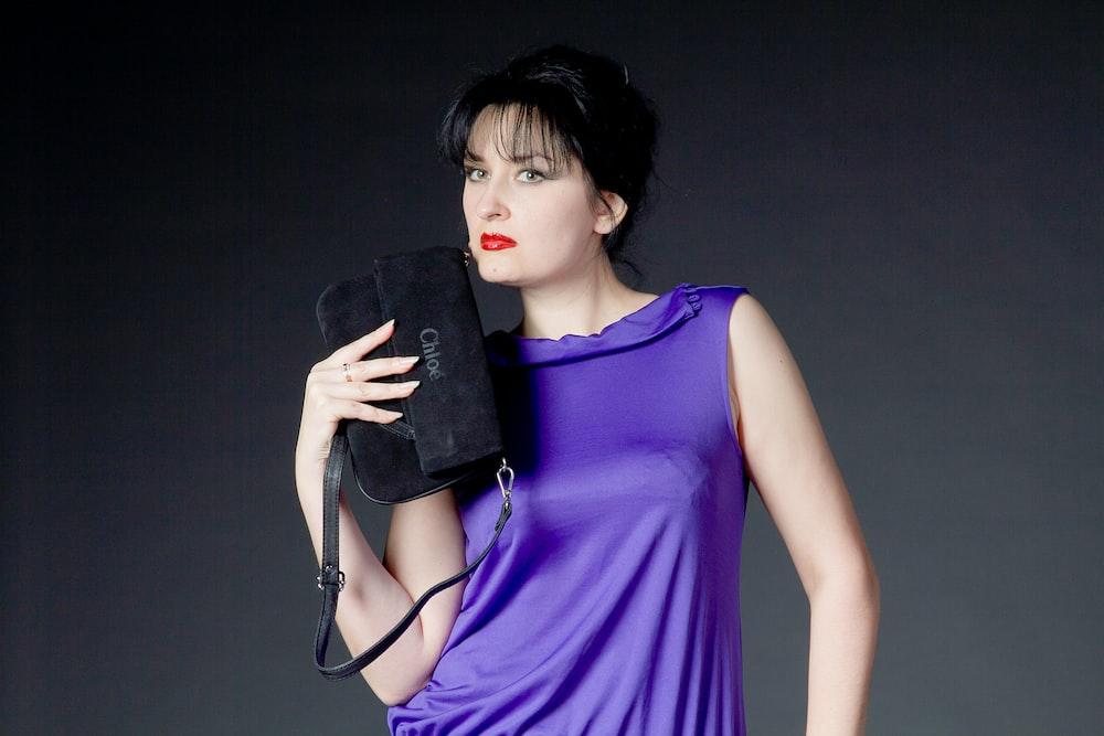 women's purple crew-neck sleeveless top