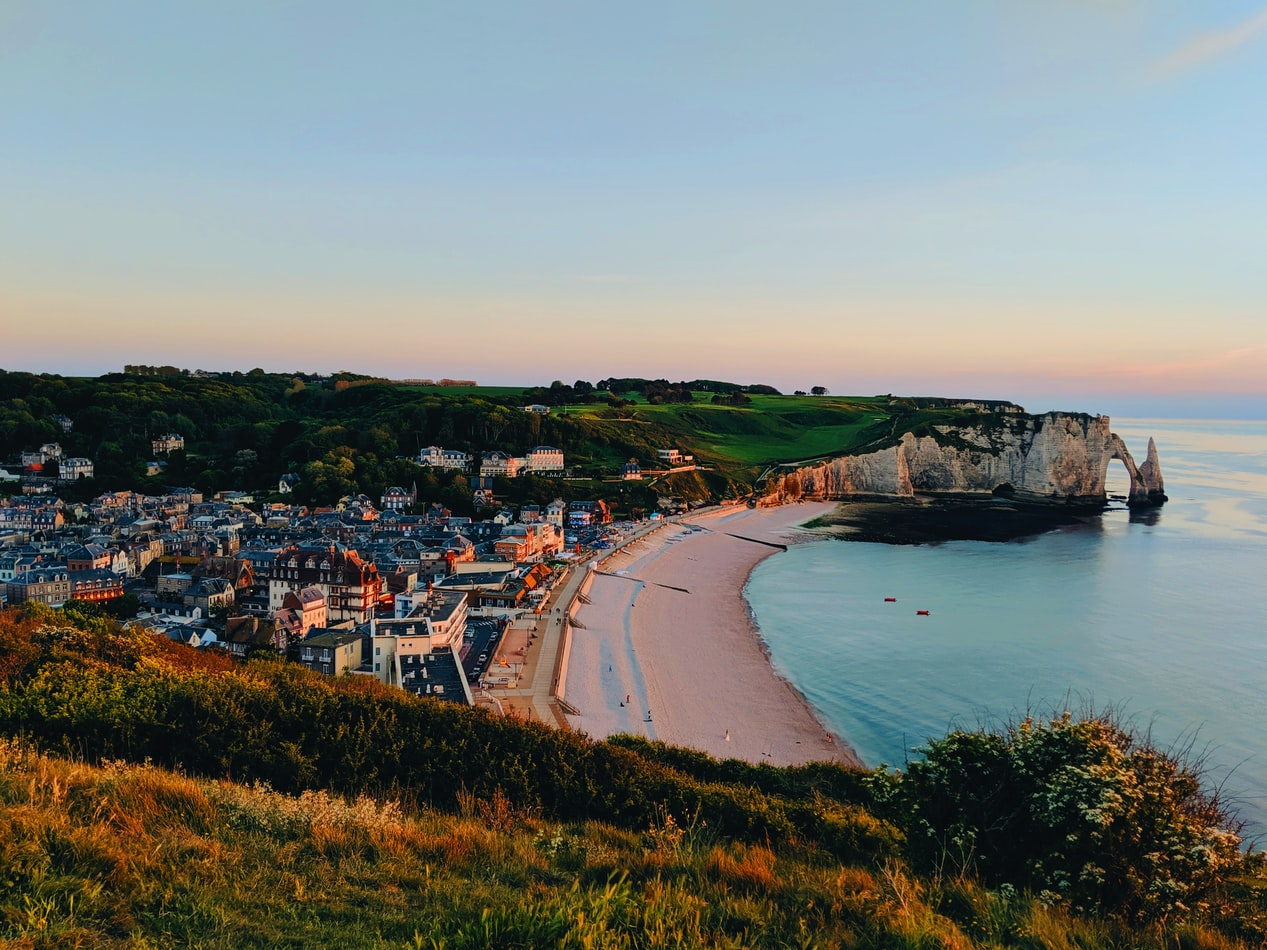 beach and city in Normandy, France