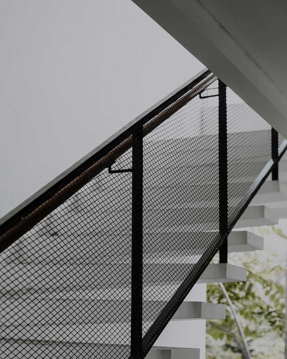 black metal railings