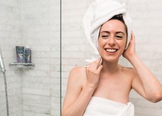woman inside bathroom