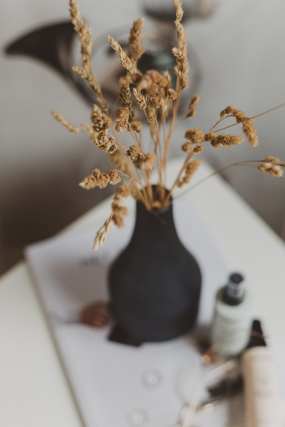 brown flower in black vase