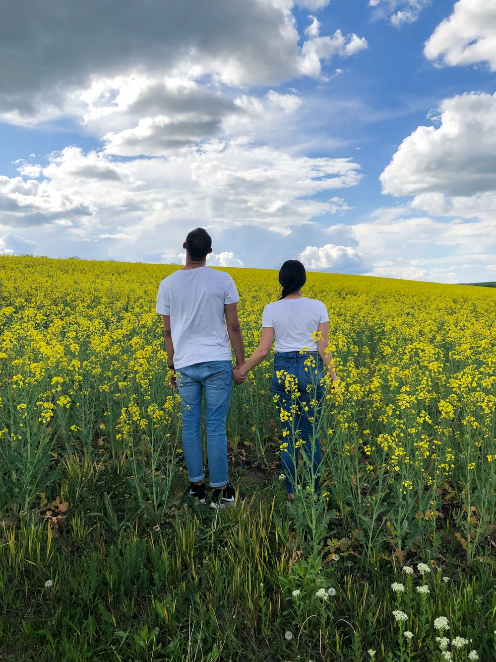 man and woman wearing white crew-neck T-shirt surrounded by yellow flowers