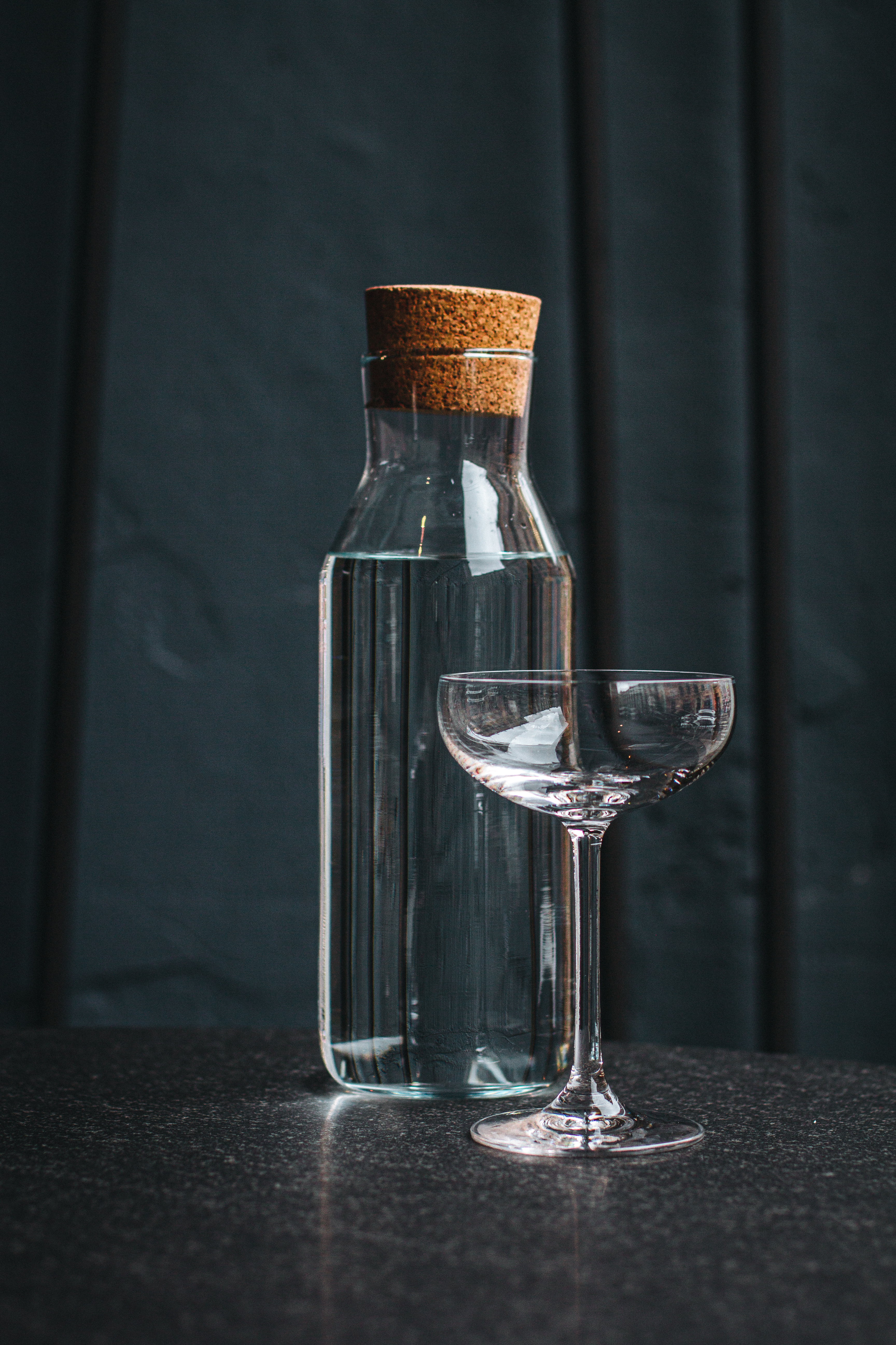 clear glass jar with cork stopper
