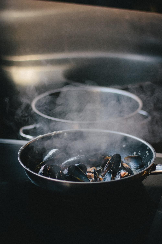 green shells on a pan