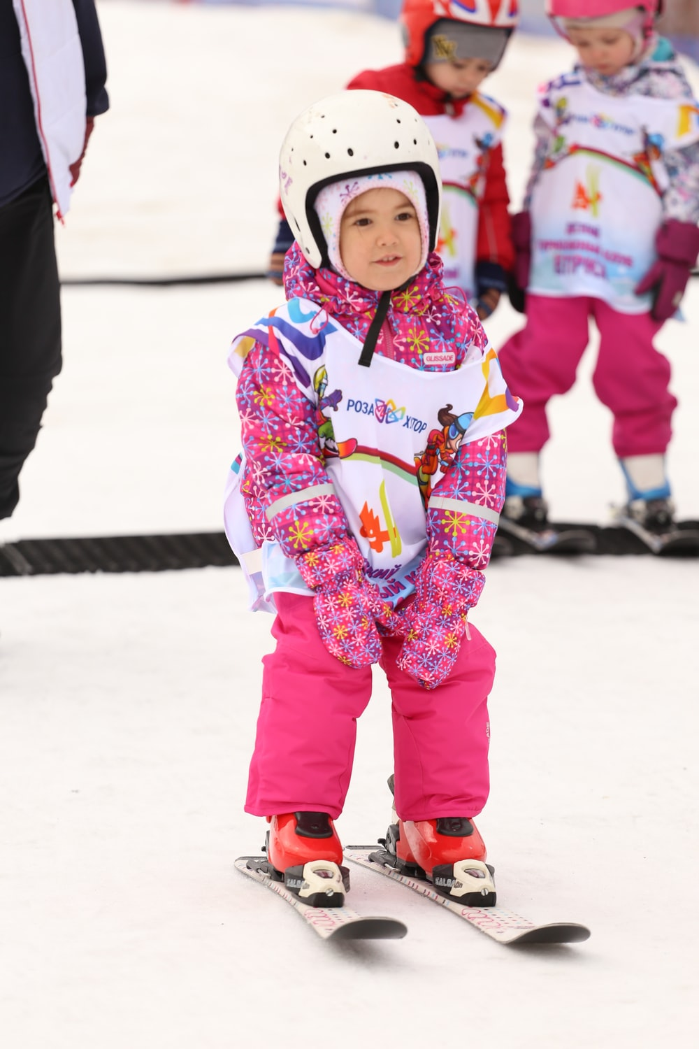 pink and white ski gear