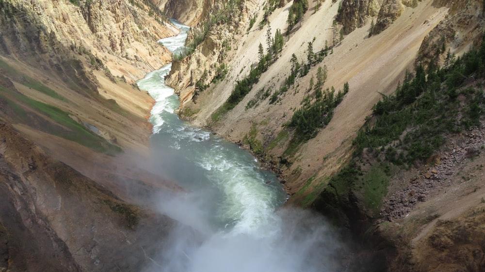 waterfalls between mountains