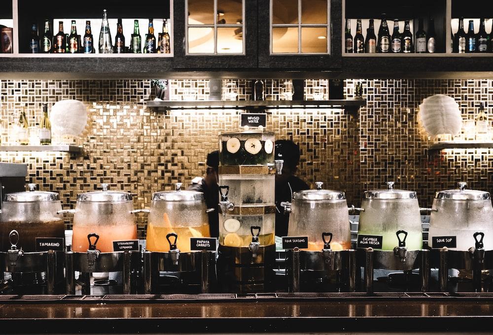 beverage dispensers inside room