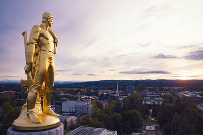 gold-colored statue during daytime art deco teams background