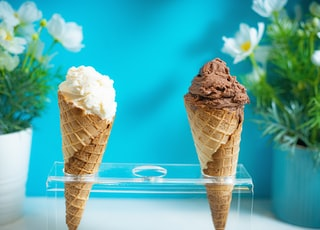 two ice cream cones