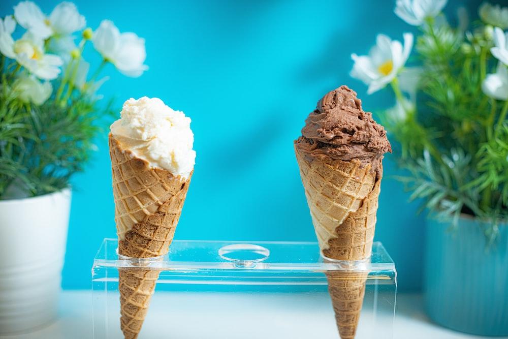 two ice cream cones