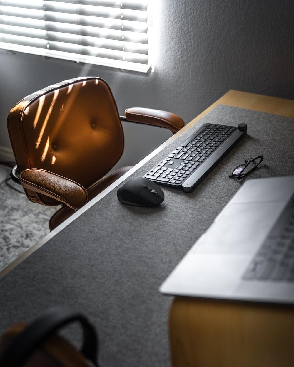black keyboard on desk