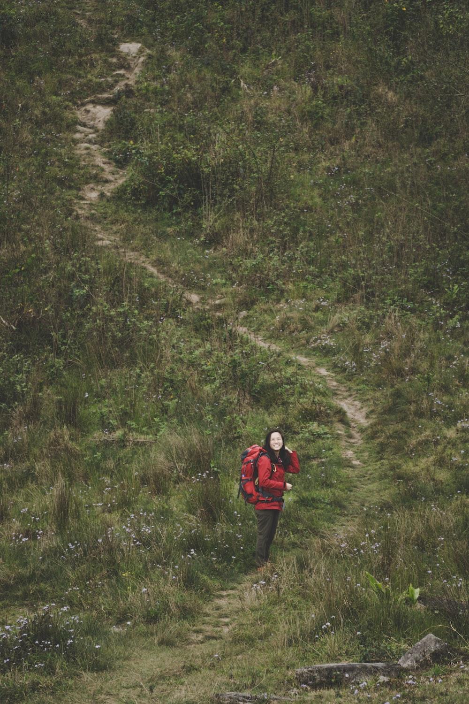 woman walking on pathway between grass