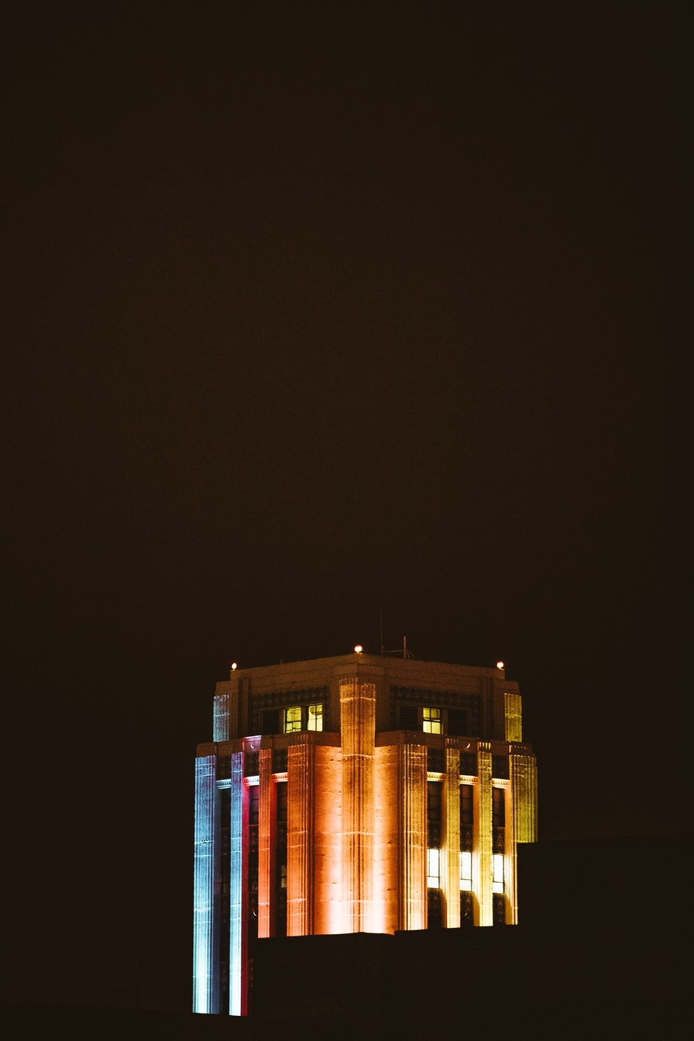 brown building at night