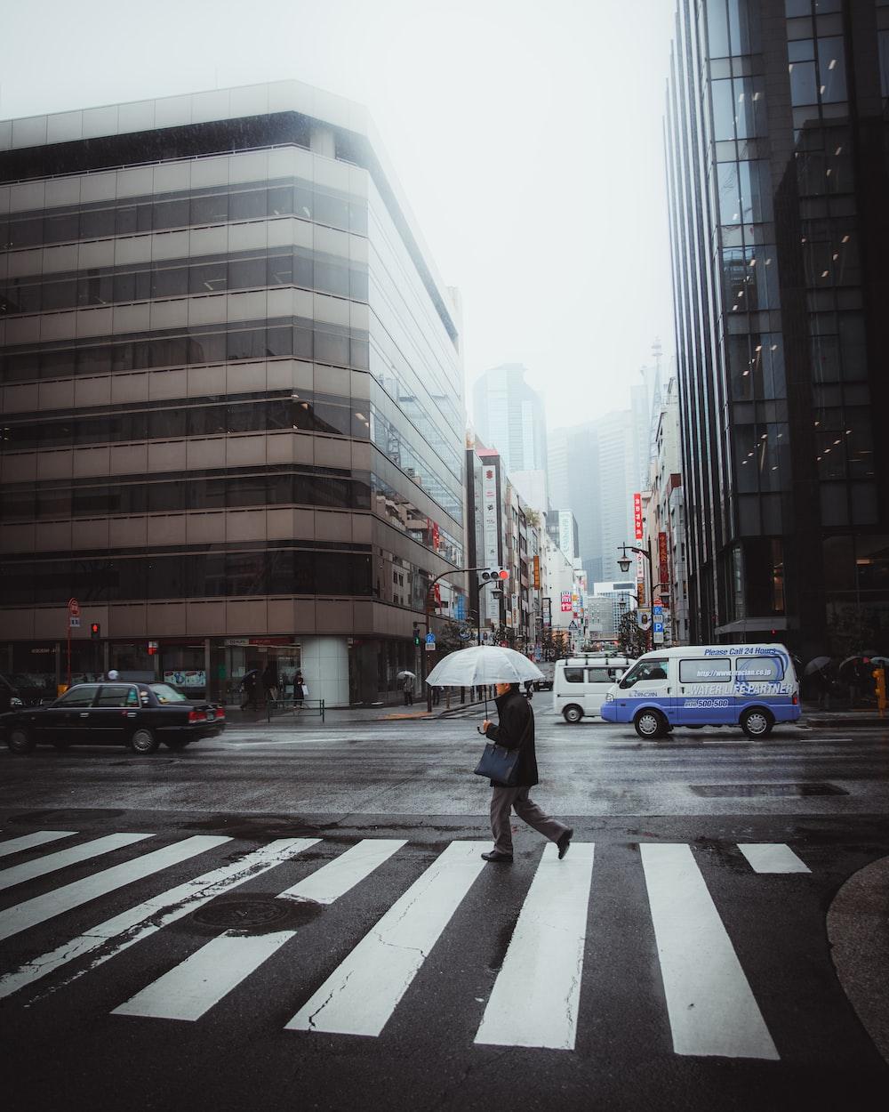 person holding umbrella walking on pedestrian