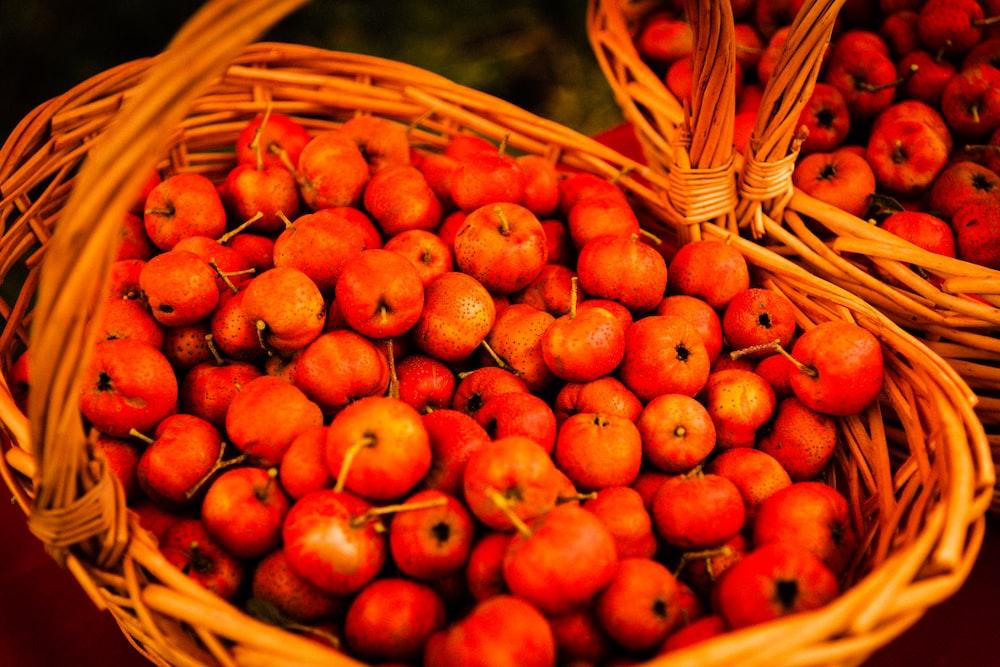 berries in wicker basket