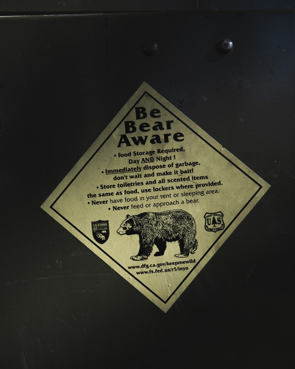 Be Bear Aware product label