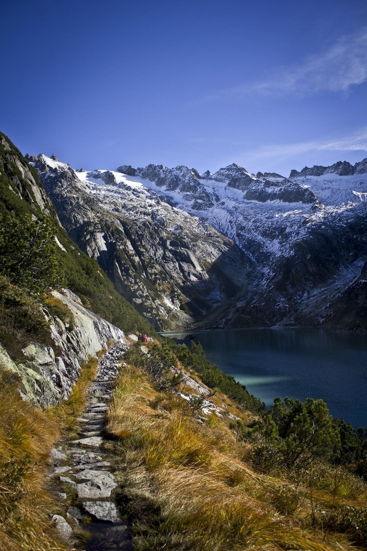 calm water near mountain