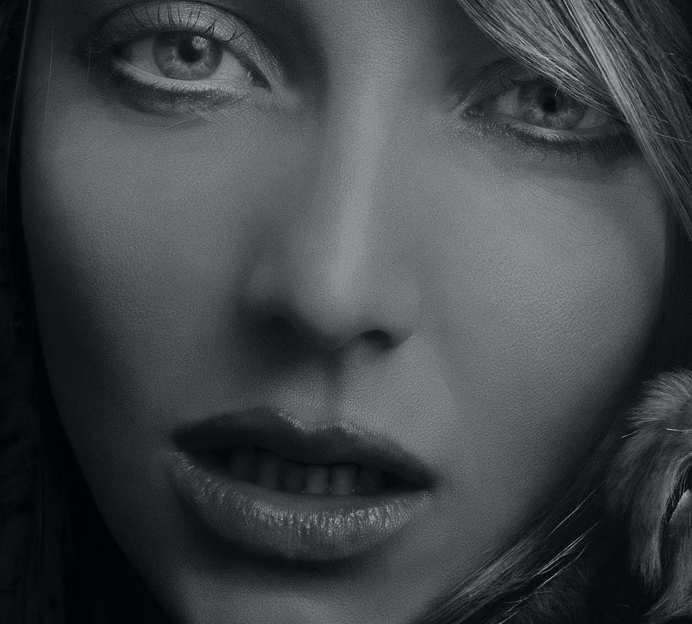 woman greyscale photo